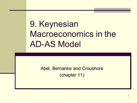 1 9. Keynesian Macroeconomics in the AD-AS Model Abel, Bernanke and Croushore (chapter 11)
