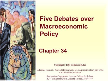 Five Debates over Macroeconomic Policy Chapter 34 Copyright © 2001 by Harcourt, Inc. All rights reserved. Requests for permission to make copies of any.
