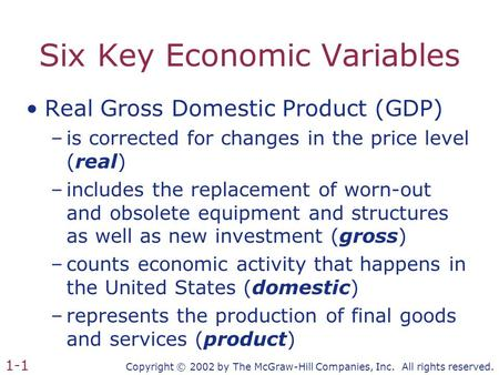 Copyright © 2002 by The McGraw-Hill Companies, Inc. All rights reserved. 1-1 Six Key Economic Variables Real Gross Domestic Product (GDP) –is corrected.
