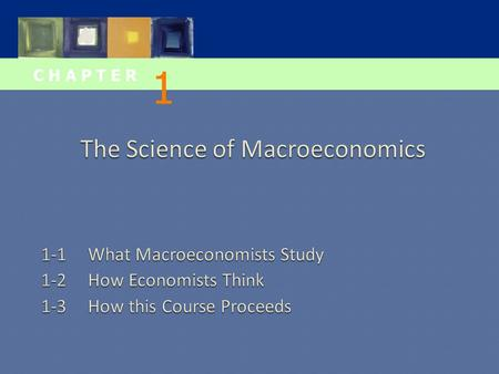 C H A P T E R 1.  This chapter introduces you to the issues macroeconomists study the tools macroeconomists use some important concepts in macroeconomic.
