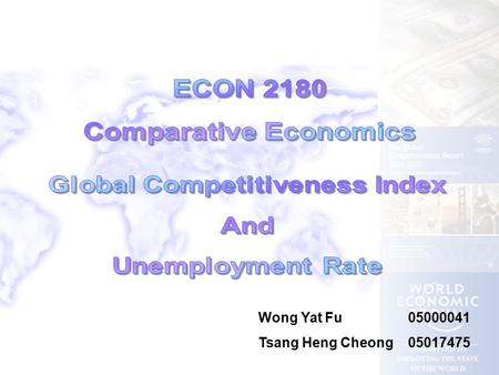 Wong Yat Fu05000041 Tsang Heng Cheong05017475. Many benchmarks are used to describe an economy e.g. growth rate of GDP, GDP per capita, net export, performance.
