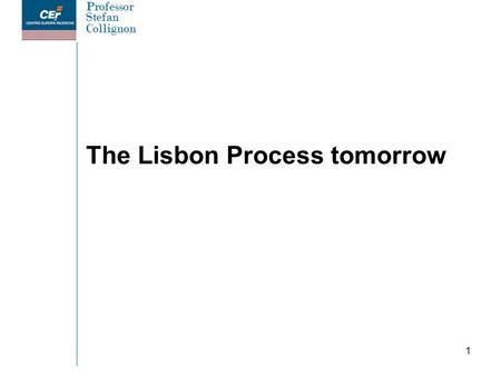 Professor Stefan Collignon 1 The Lisbon Process tomorrow.