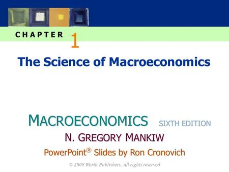 M ACROECONOMICS C H A P T E R © 2008 Worth Publishers, all rights reserved SIXTH EDITION PowerPoint ® Slides by Ron Cronovich N. G REGORY M ANKIW The Science.