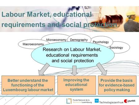 1 Labour Market, educational requirements and social protection Microeconomy Sociology Macroeconomy Psychology Demography Research on Labour Market, educational.