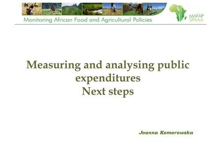 Measuring and analysing public expenditures Next steps Joanna Komorowska.