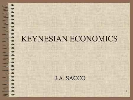 1 KEYNESIAN ECONOMICS J.A. SACCO. 2 Classical Theory Review All resources fully used No unused capacity Full employment/ Supplied determined Economy is.