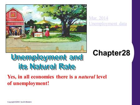 Copyright©2004 South-Western Chapter28 Unemployment and its Natural Rate Yes, in all economies there is a natural level of unemployment! Mar. 2014 Unemployment.