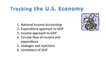 1.National Income Accounting 2.Expenditure approach to GDP 3.Income approach to GDP 4.Circular flow of income and expenditure 5.Leakages and injections.