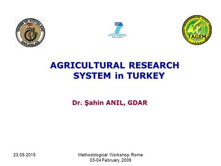 23.05.2015Methodological Workshop, Rome 03-04 February, 2009 AGRICULTURAL RESEARCH SYSTEM in TURKEY Dr. Şahin ANIL, GDAR.