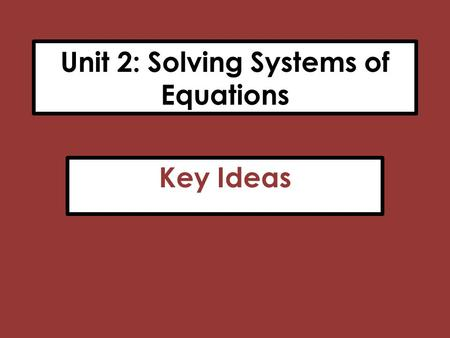 Unit 2: Solving Systems of Equations