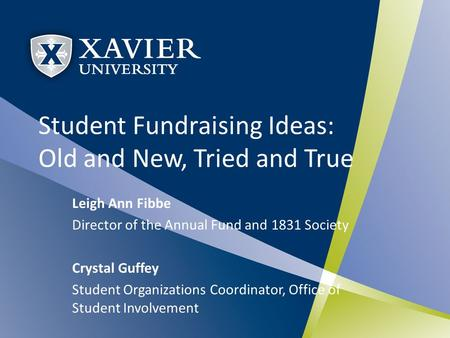 Student Fundraising Ideas: Old and New, Tried and True Leigh Ann Fibbe Director of the Annual Fund and 1831 Society Crystal Guffey Student Organizations.
