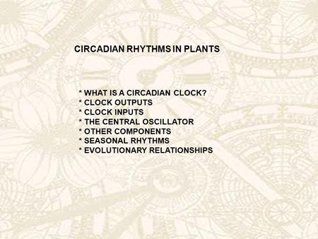 CIRCADIAN RHYTHMS IN PLANTS * WHAT IS A CIRCADIAN CLOCK? * CLOCK OUTPUTS * CLOCK INPUTS * THE CENTRAL OSCILLATOR * OTHER COMPONENTS * SEASONAL RHYTHMS.