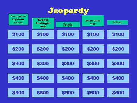 Jeopardy $100 $200 $300 $400 $500 Government/ Legislative Causes $100 $200 $300 $400 $500 Events leading to war $100 $200 $300 $400 $500 People $100 $200.