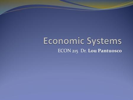 ECON 215 Dr. Lou Pantuosco. The Macro picture What is an economy? The large set of inter- related economic production and consumption activities which.