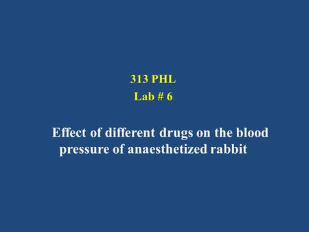 313 PHL Lab # 6 Effect of different drugs on the blood pressure of anaesthetized rabbit.