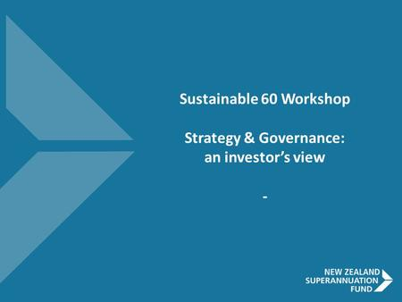 Sustainable 60 Workshop Strategy & Governance: an investor's view -