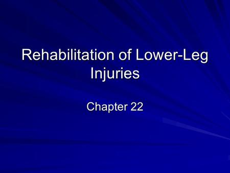 Rehabilitation of Lower-Leg Injuries Chapter 22. Inability to plantarflex.