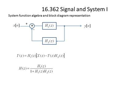 16.362 Signal and System I System function algebra and block diagram representation + + -
