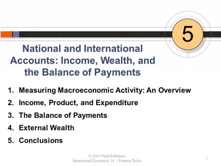 National and International Accounts: Income, Wealth, and the Balance of Payments 5 1.Measuring Macroeconomic Activity: An Overview 2.Income, Product, and.