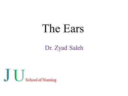 The Ears Dr. Zyad Saleh. Anatomy Structure of the Ear: The ear is organ of hearing. It comprises of three parts: Outer ear Middle ear Inner ear.
