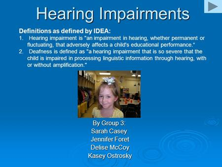 Hearing Impairments By Group 3: Sarah Casey Jennifer Foret Jennifer Foret Delise McCoy Delise McCoy Kasey Ostrosky Kasey Ostrosky Definitions as defined.