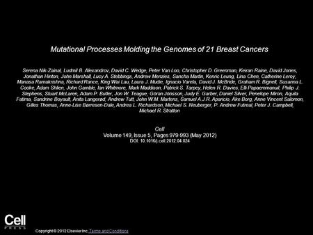 Mutational Processes Molding the Genomes of 21 Breast Cancers Serena Nik-Zainal, Ludmil B. Alexandrov, David C. Wedge, Peter Van Loo, Christopher D. Greenman,