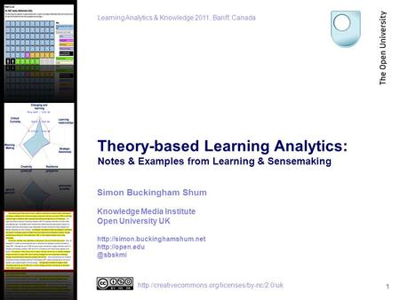 Theory-based Learning Analytics: Notes & Examples from Learning & Sensemaking 1 Simon Buckingham Shum Knowledge Media Institute Open University UK