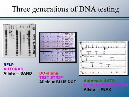 Three generations of DNA testing DQ-alpha TEST STRIP Allele = BLUE DOT RFLP AUTORAD Allele = BAND Automated STR ELECTROPHEROGRAM Allele = PEAK.