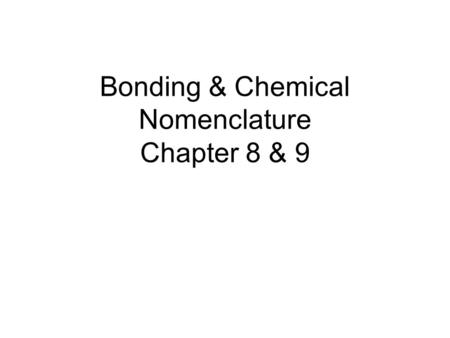 Bonding & Chemical Nomenclature Chapter 8 & 9. Some Key Terms 1.Ionic Bond – the electrostatic attraction of oppositely charged particles (cations & anions)
