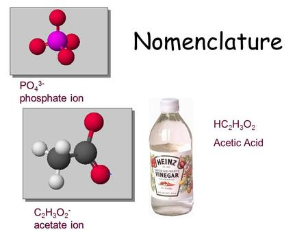 Nomenclature PO43- phosphate ion HC2H3O2 Acetic Acid C2H3O2-