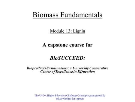 Biomass Fundamentals Module 13: Lignin A capstone course for BioSUCCEED: Bioproducts Sustainability: a University Cooperative Center of Excellence in EDucation.