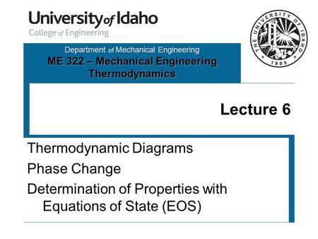 Department of Mechanical Engineering ME 322 – Mechanical Engineering Thermodynamics Lecture 6 Thermodynamic Diagrams Phase Change Determination of Properties.