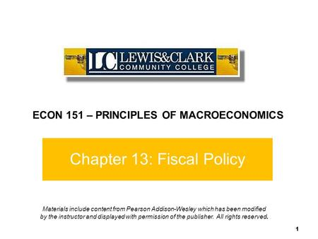 Chapter 13: Fiscal Policy