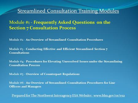 Streamlined Consultation Training Modules