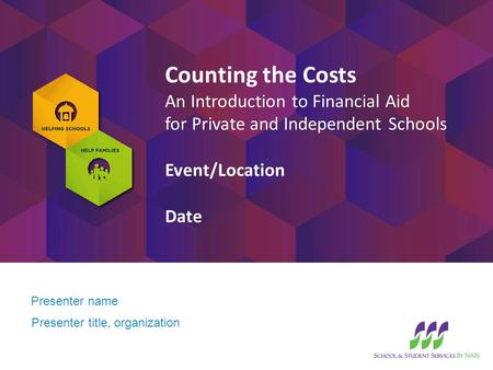 Presenter name Presenter title, organization Counting the Costs An Introduction to Financial Aid for Private and Independent Schools Event/Location Date.