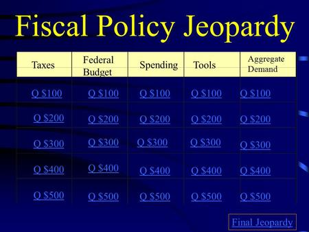 Fiscal Policy Jeopardy Federal Budget Spending Tools Aggregate Demand Q $100 Q $200 Q $300 Q $400 Q $500 Q $100 Q $200 Q $300 Q $400 Q $500 Final Jeopardy.
