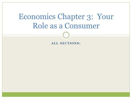 ALL SECTIONS: Economics Chapter 3: Your Role as a Consumer.