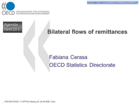 STD/PASS/TAGS – Trade and Globalisation Statistics STD/SES/TAGS – Trade and Globalisation Statistics Bilateral flows of remittances Fabiana Cerasa OECD.