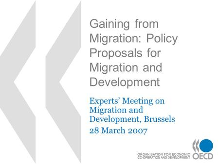 Gaining from Migration: Policy Proposals for Migration and Development Experts' Meeting on Migration and Development, Brussels 28 March 2007.