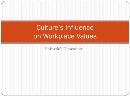 Hofstede's Dimensions Culture's Influence on Workplace Values.