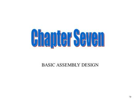BASIC ASSEMBLY DESIGN 79. There is a number of ways to enter ASSEMBLY DESIGN mode. Any ONE way will do it. Click here 80.