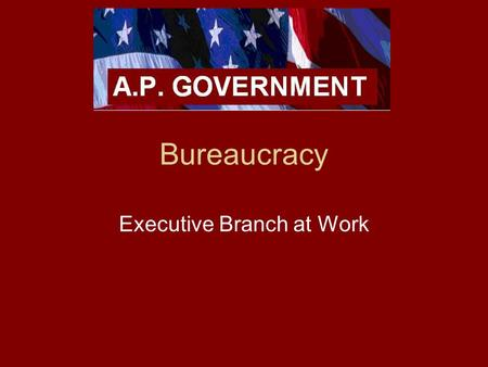"Bureaucracy Executive Branch at Work. Bureaucracy What is a bureaucracy? –Large, complex organization of appointed, not elected, officials. –""bureau"""