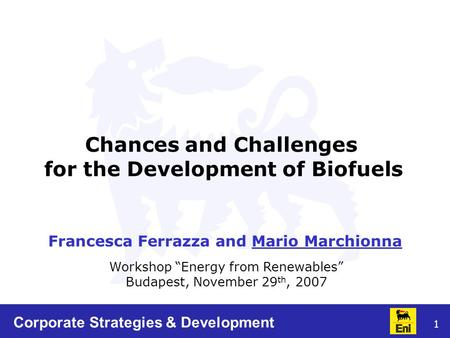 "1 Workshop ""Energy from Renewables"" Budapest, November 29 th, 2007 Chances and Challenges for the Development of Biofuels Francesca Ferrazza and Mario."