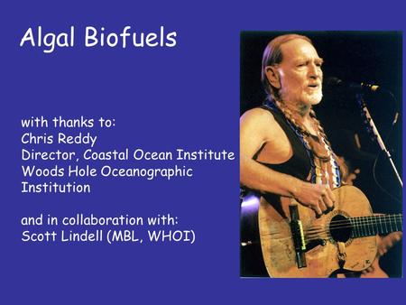 Algal Biofuels with thanks to: Chris Reddy Director, Coastal Ocean Institute Woods Hole Oceanographic Institution and in collaboration with: Scott Lindell.
