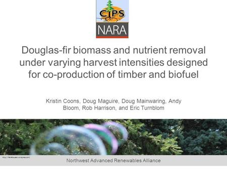Northwest Advanced Renewables Alliance Douglas-fir biomass and nutrient removal under varying harvest intensities designed for co-production of timber.