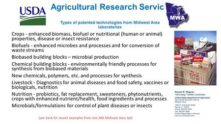 Agricultural Research Service Types of patented technologies from Midwest Area laboratories Crops - enhanced biomass, biofuel or nutritional (human or.