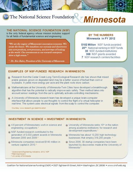 BY THE NUMBERS Minnesota in FY 2012 $102 Million: NSF funds awarded 20 th : National ranking in NSF funds 30: NSF-funded institutions 368: NSF grants awarded.