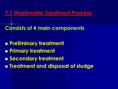 7.1 Wastewater Treatment Process