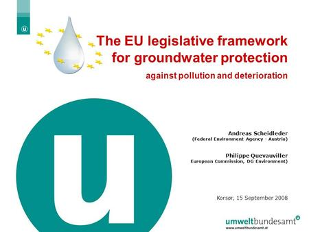 The EU legislative framework for groundwater protection
