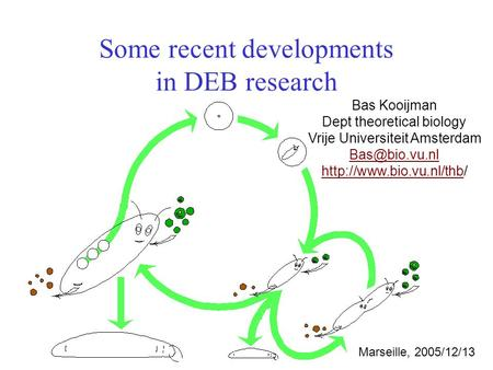 Some recent developments in DEB research Bas Kooijman Dept theoretical biology Vrije Universiteit Amsterdam